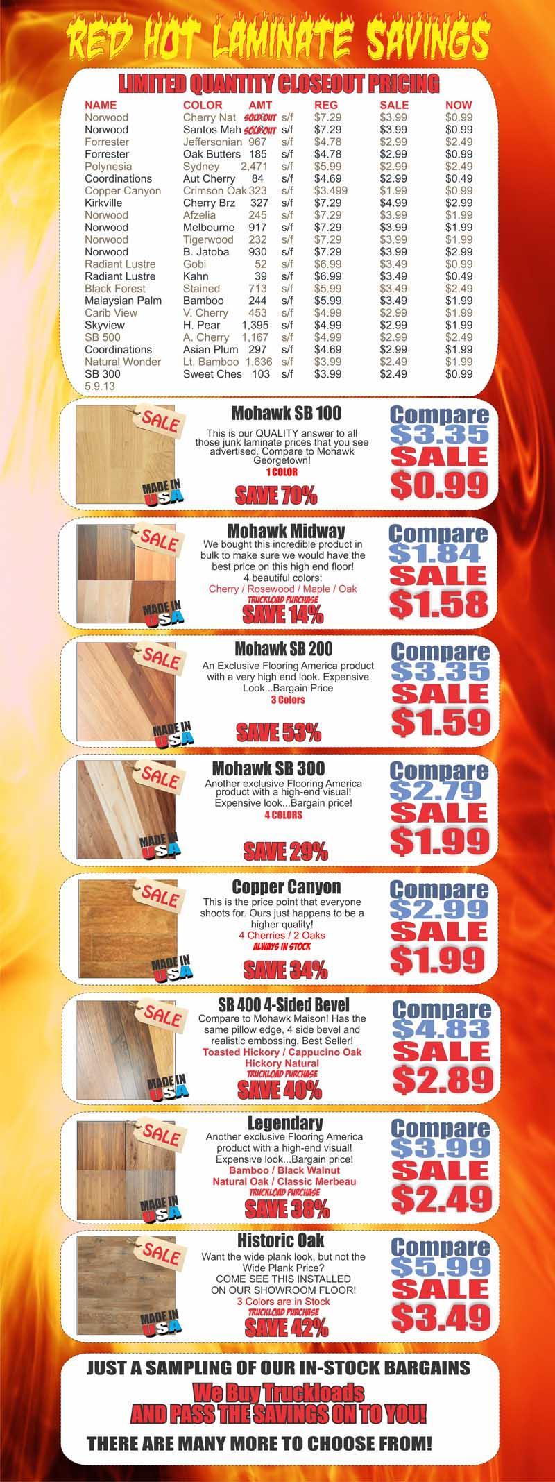 Laminate Flooring Internet Specials